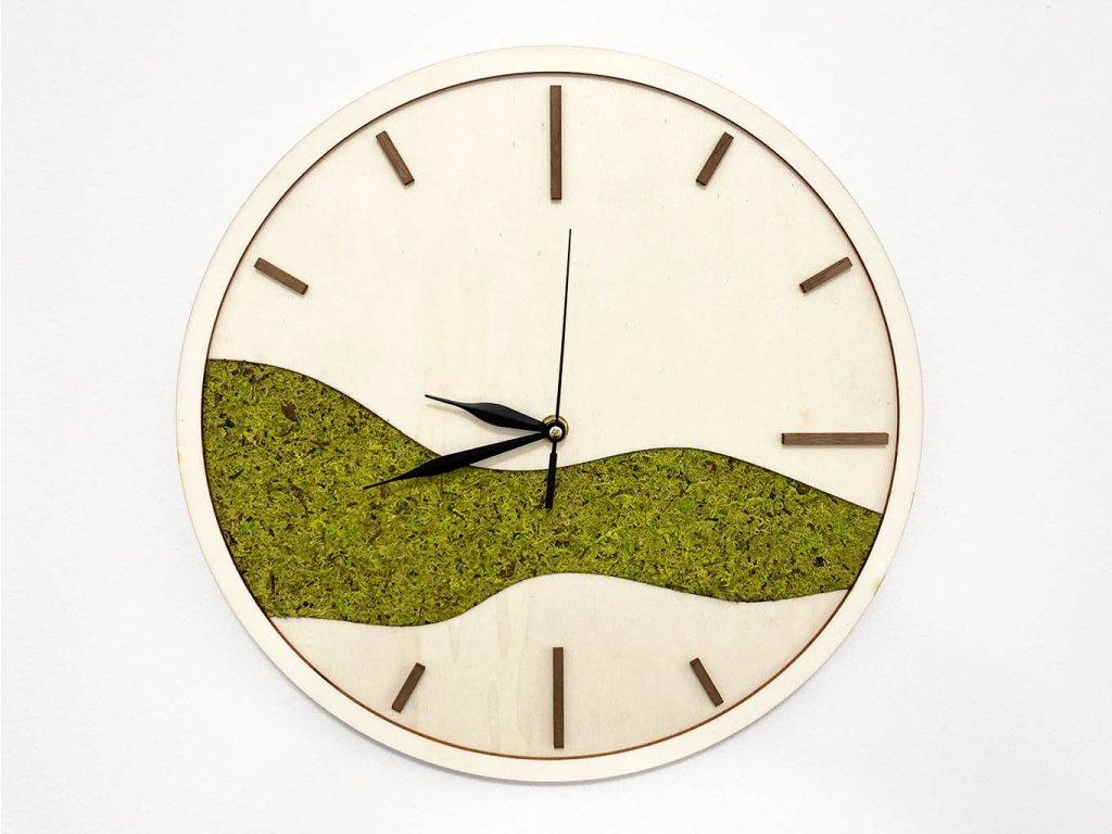 nastenne hodiny Moss-hodiny-drevene hodiny-organoid-mach