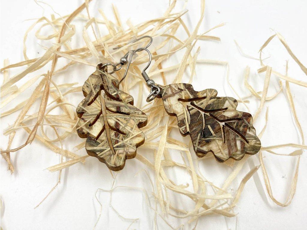 drevene nausnice, nausnice, wooden earrings, prirodny material, dub, quercus, organoid, list, leaf