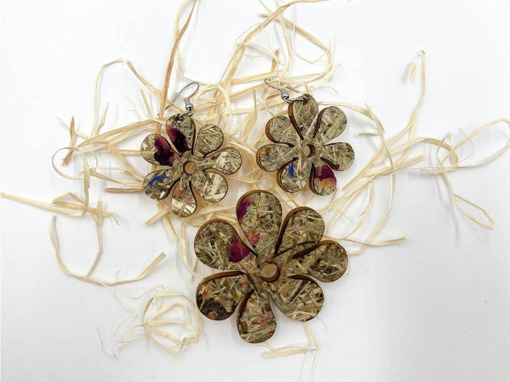 drevena brosna-flower-brosna-organoid-nausnice-drevene nausnice