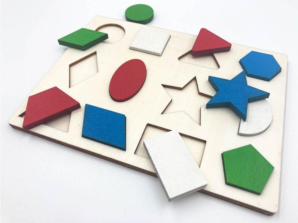 drevena vkladacka, vkladacka tvary, geometricke tvary, montessori