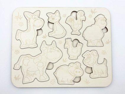 puzzle-farma-zvieratka-drevene puzzle-drevene zvieratka-montessori