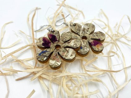 drevene nausnice Flower-drevene nausnice-flower-drevo-organoid-doplnok