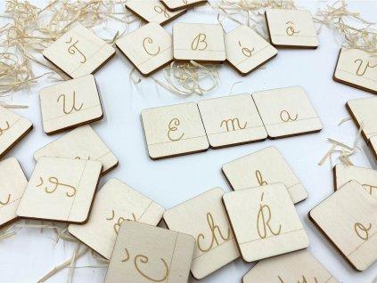 abededa, drevene karticky, drevena abeceda, montessori