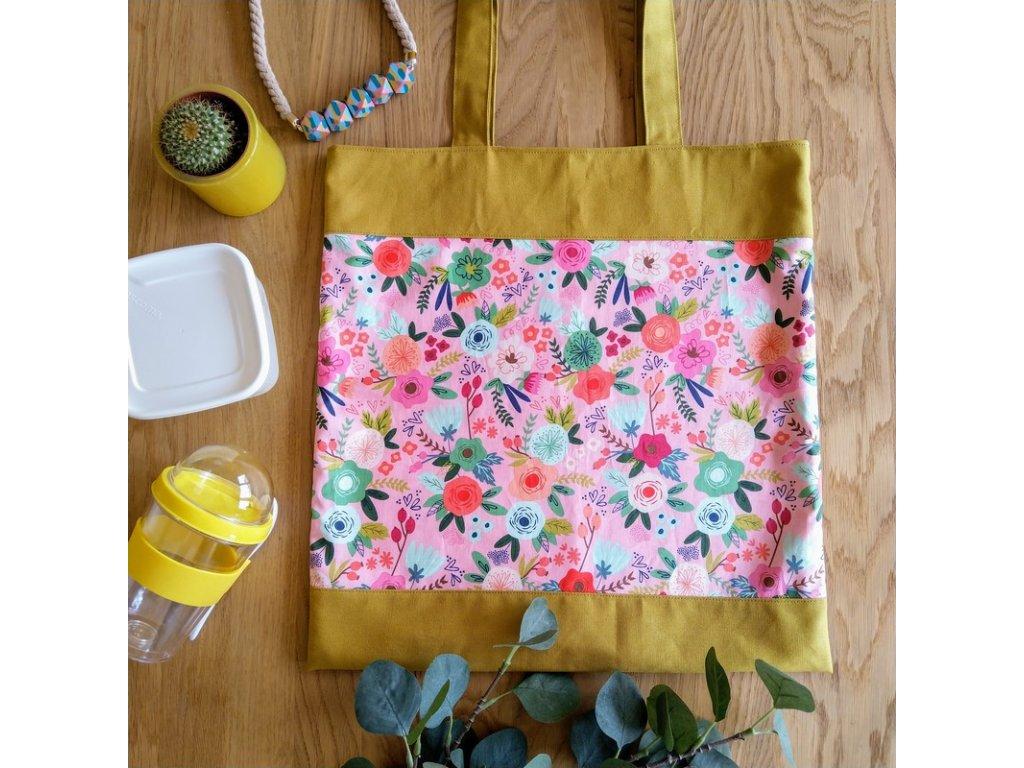 Plátěnka Rozkvetlé kari  z designové bavlny a pevného kanvasu