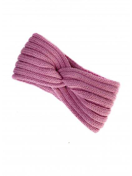 Pletená čelenka Old Pink