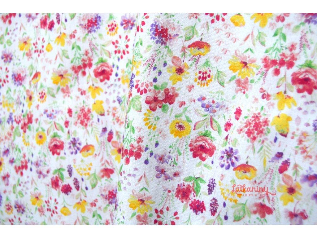 Květovaná louka bavlna - Látkaniny 93fad06ba4