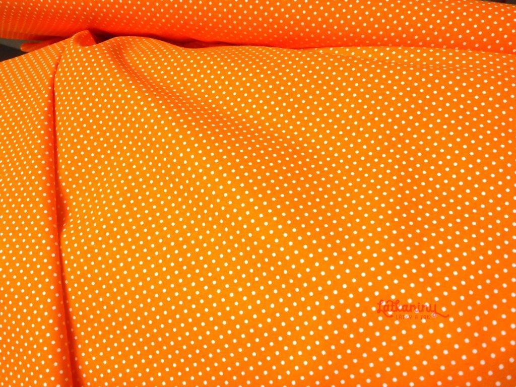 bavlna oranž puntík