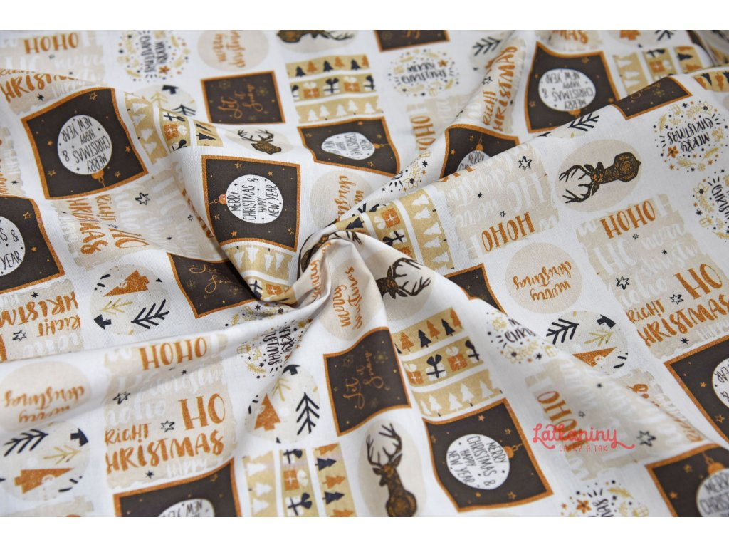 Vánoční bavlna béžová  Vánoční bavlněné plátno