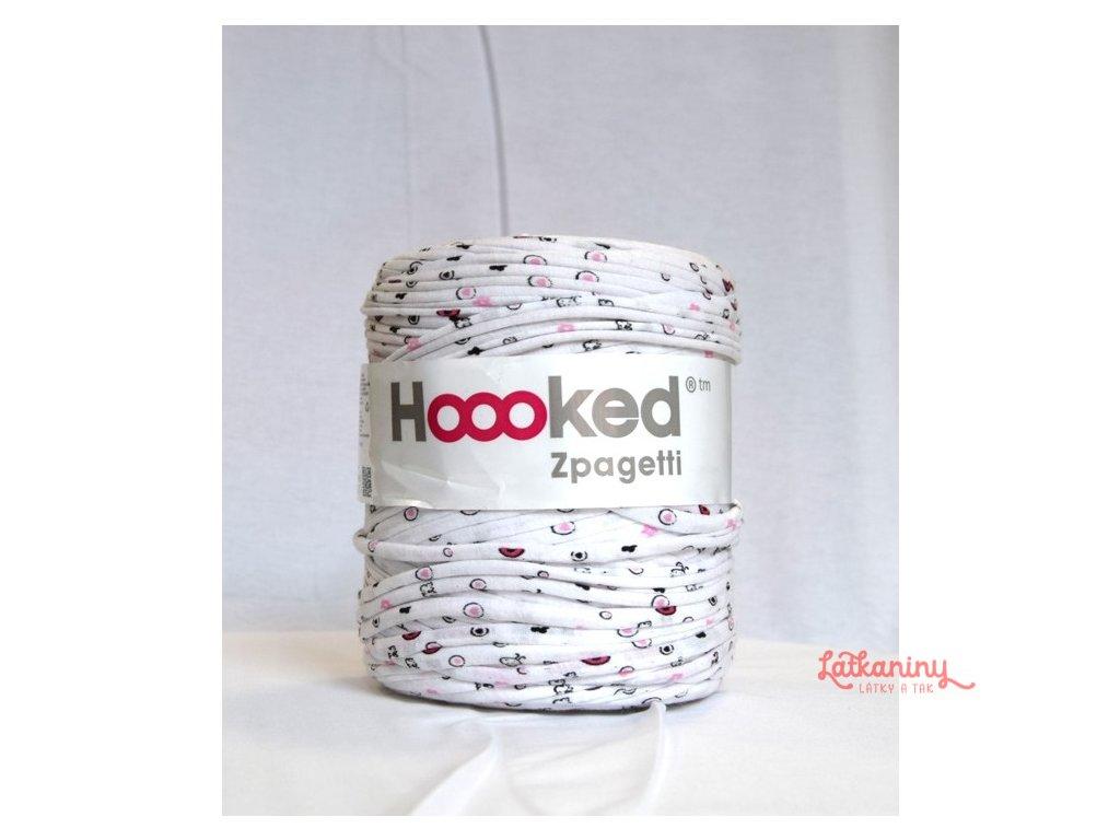 Textilní příze špagáty - bílá s růžovou