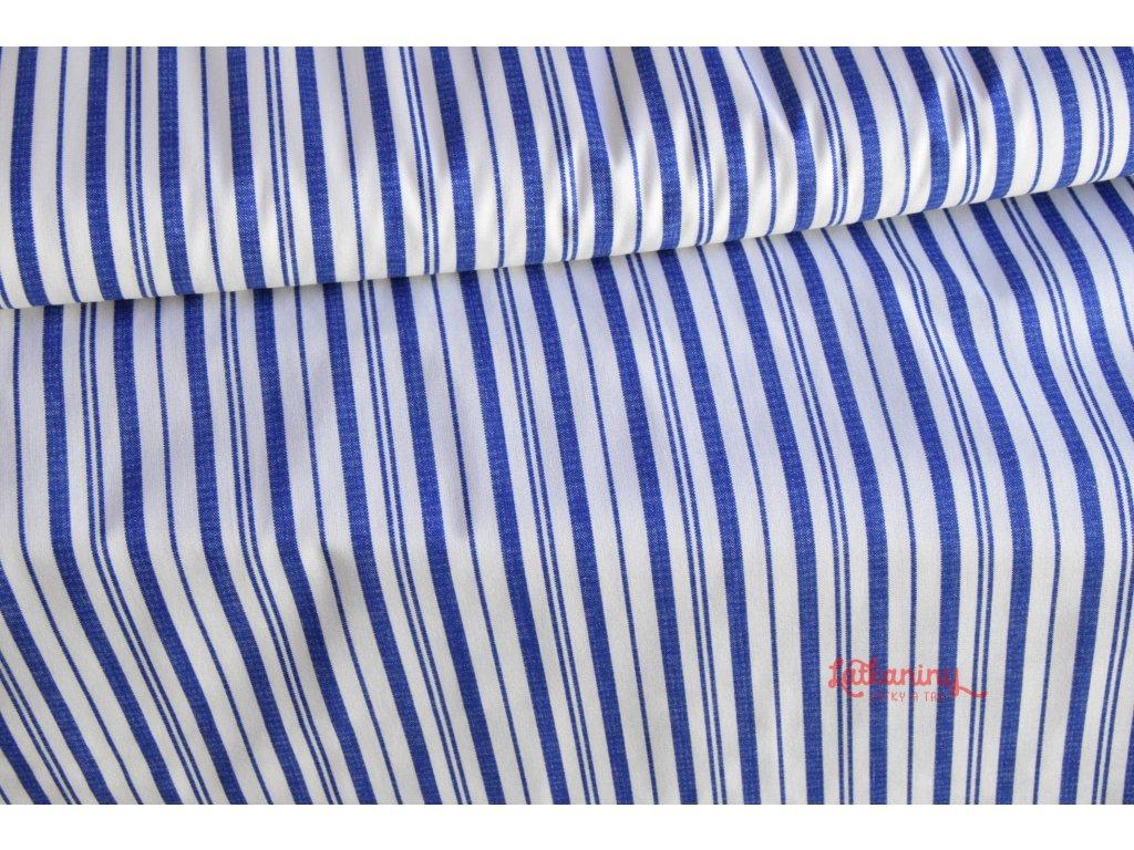 Plátno modré pruhy nepravidelné  Bavlněné plátno modré kolekce