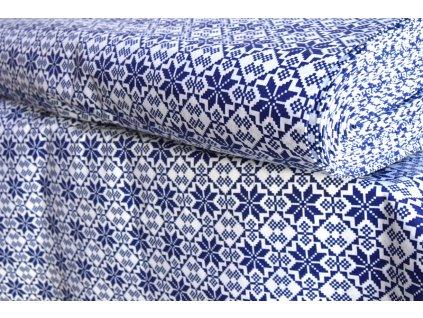 bavlna vzor modrý