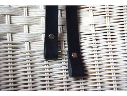 Kožená ucha k taškám - černá 2 cm