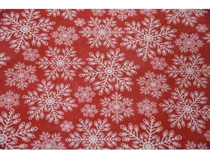 Vánoční bavlna krajkové vločky  Vánoční motivy na červené