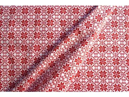Bavlna vzor skandinávský červený