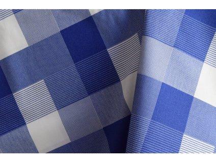Plátno modré kostky nepravidelné  Bavlněné plátno modré kolekce