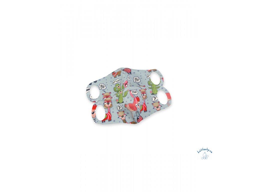 102748 Komfortní rouška s drátkem lamy na modré 2 ks XXS scaled