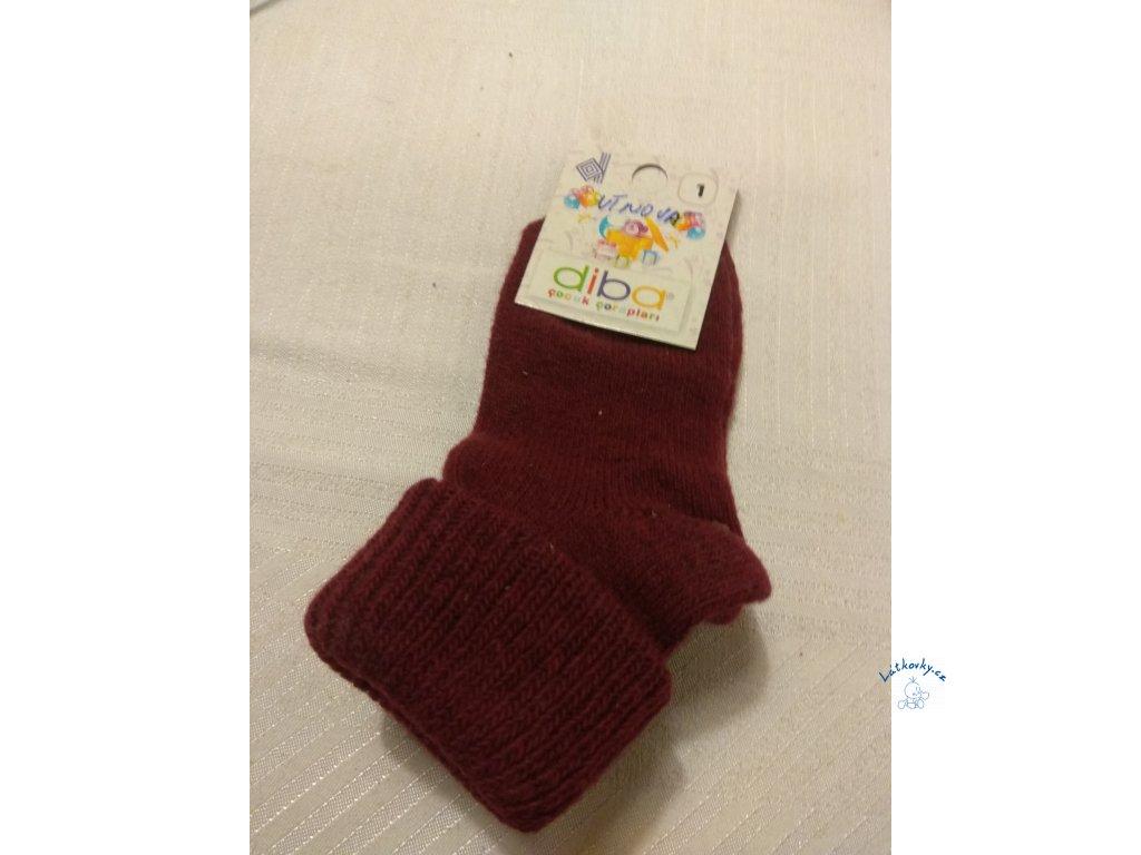 VLNĚNÉ ponožky Diba vel. 1,  (1-1,5 roku), VÍNOVÁ