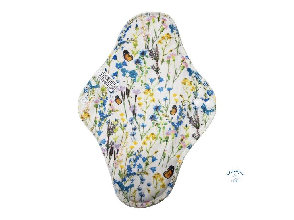 Breberky BIO noční vložka (PUL) - Zvonečková rozkvetlá louka (bmb froté)