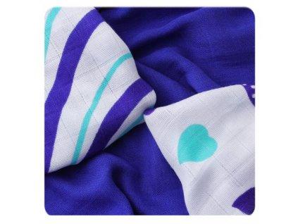 Bambusové plenové ubrousky Hearts &Wawes Ocean Blue Mix 30x30cm,9ks
