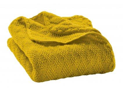 Merino deka pletená Disana, 100x80 cm, CURRY