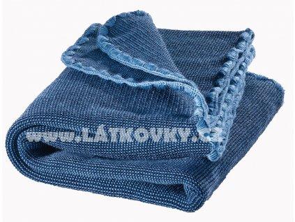 Merino deka pletená Disana, 100x80 cm, MELÍR, modrá SVĚTLEJŠÍ