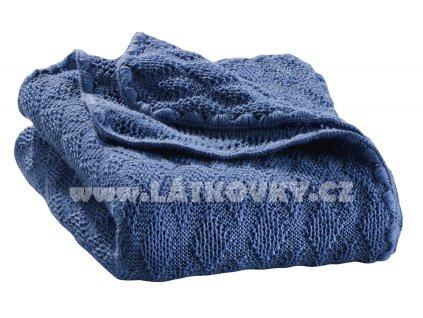 Merino deka pletená Disana, 100x80 cm, modrá