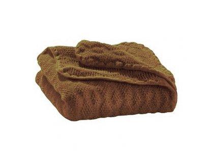 Merino deka pletená Disana, 100x80 cm, oříšková