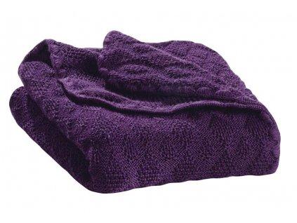 Merino deka pletená Disana, 100x80 cm, PLUM