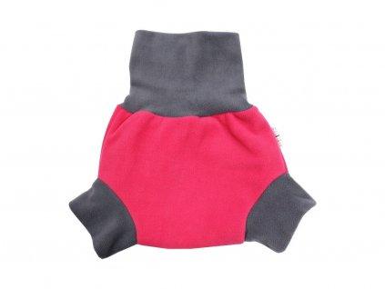 21485 1 natahovaci fleecove svrchni kalhotky ruzove sede lemovani