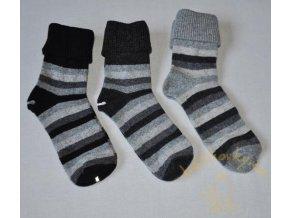 Dámské vlněné ponožky Diba (vel. 37 - 41) - pruhované, černá