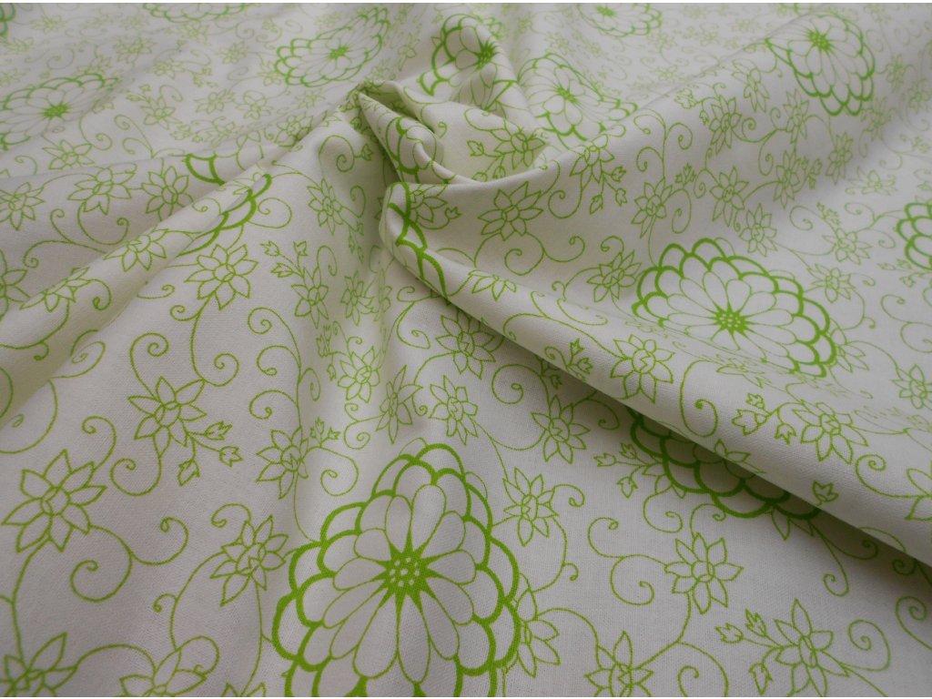 zelené kytky na bílé