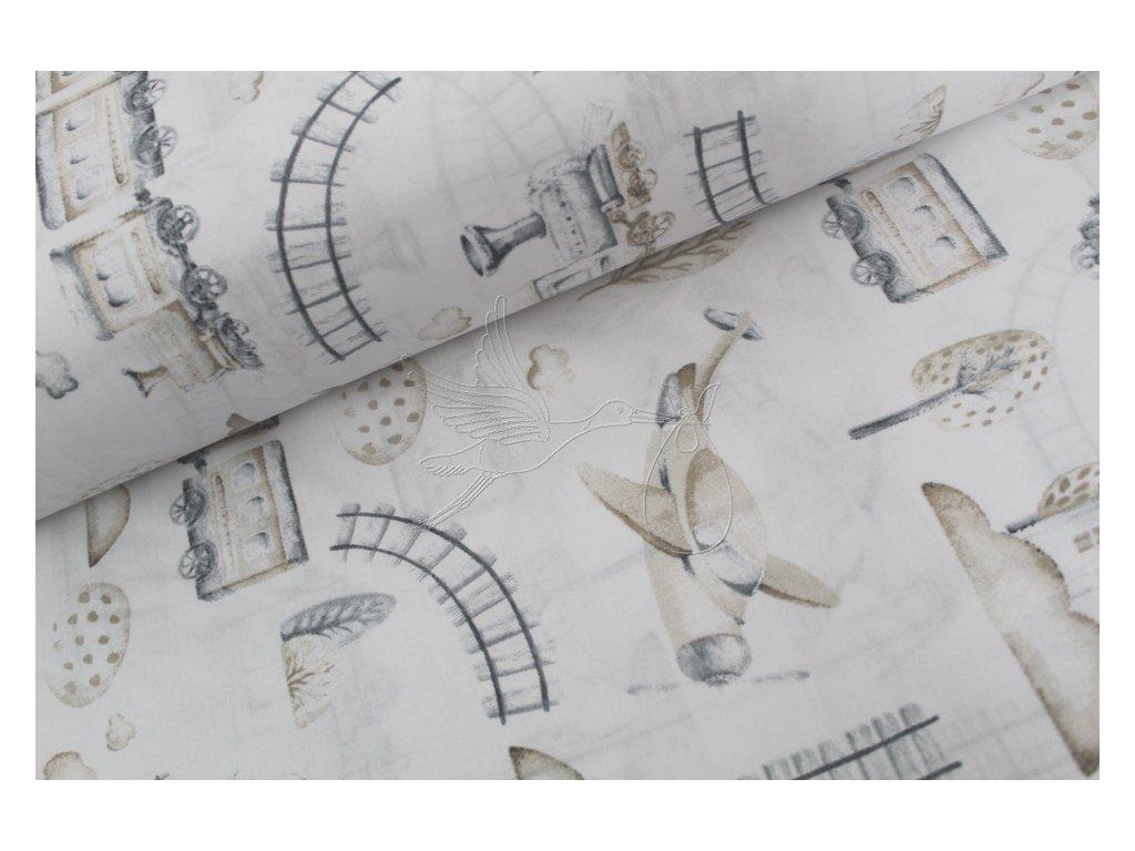 1029 4 vlacky a letadla hnede bavlnene platno sire 240cm