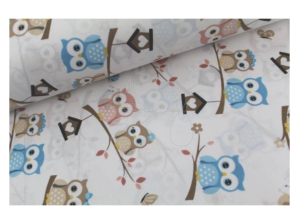 1041 5 sovy modre hnede staroruzove bavlnene platno sire 240cm