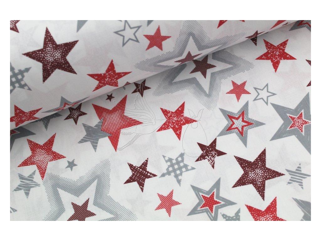 1104 5 hvezdy cervene bavlnene platno sire 240cm