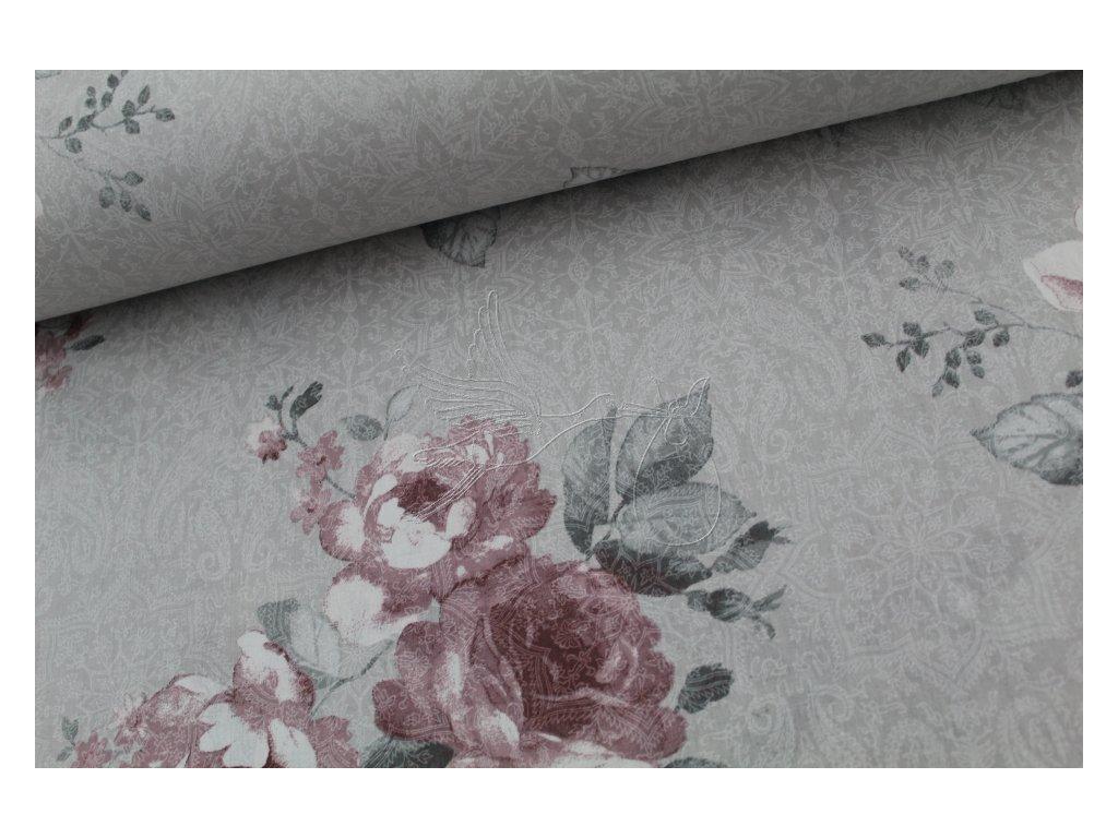 1167 4 ruze ruzove velky vzor bavlnene platno sire 240cm