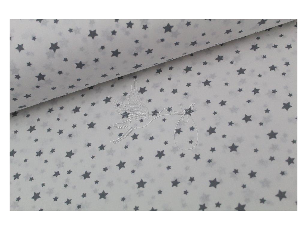 5205 4 sede mensi hvezdy na bile bavlnene platno sire 240cm