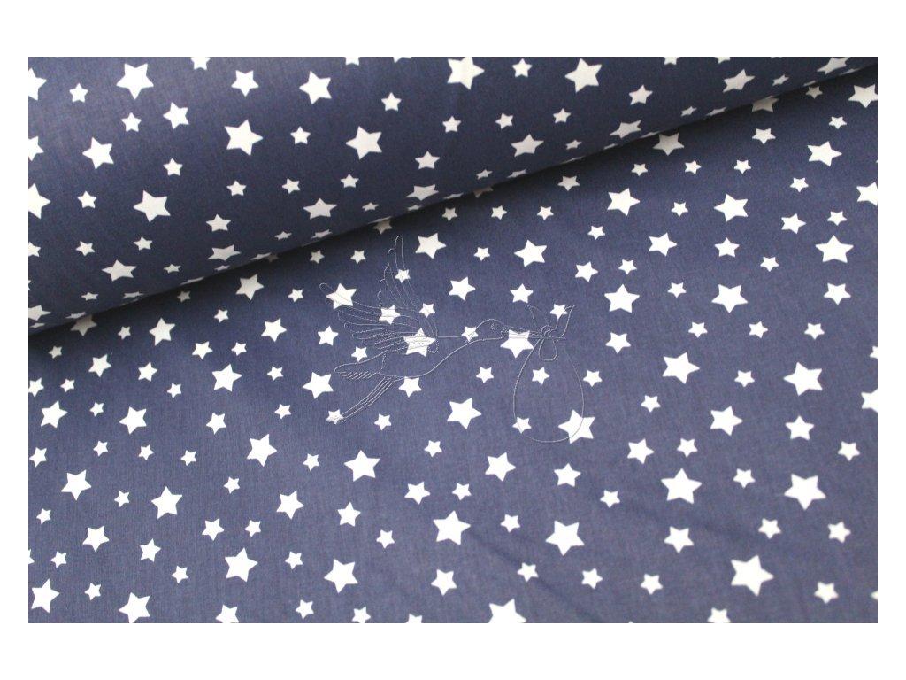 5208 4 bile mensi hvezdy na tmave modre bavlnene platno sire 240cm