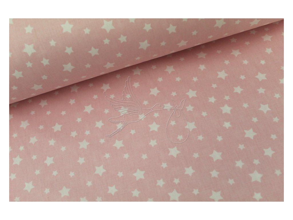 5214 3 bile mensi hvezdy na svetle ruzove bavlnene platno sire 240cm