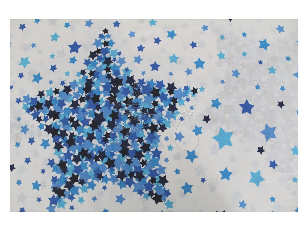 5253 4 hvezdy modre bavlnene platno sire 240cm