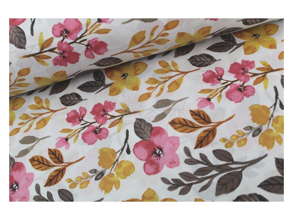 5271 5 podzimni kviti ruzovy kvet bavlnene platno sire 240cm