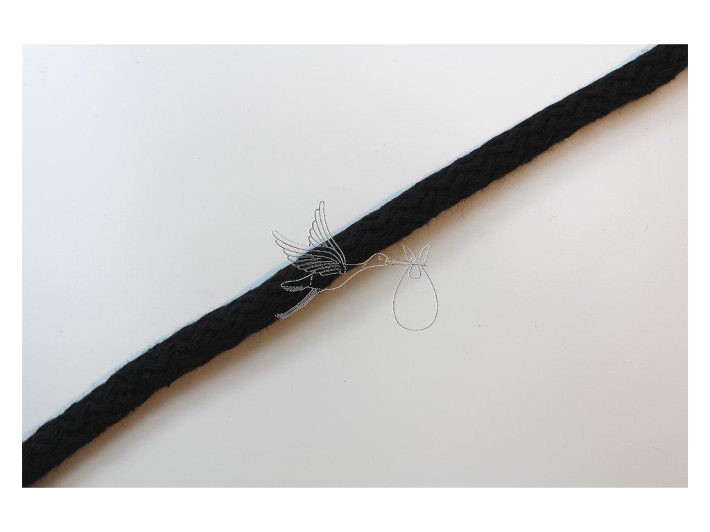 Oděvní šňůra 9mm - černá - zbytek 0,34m