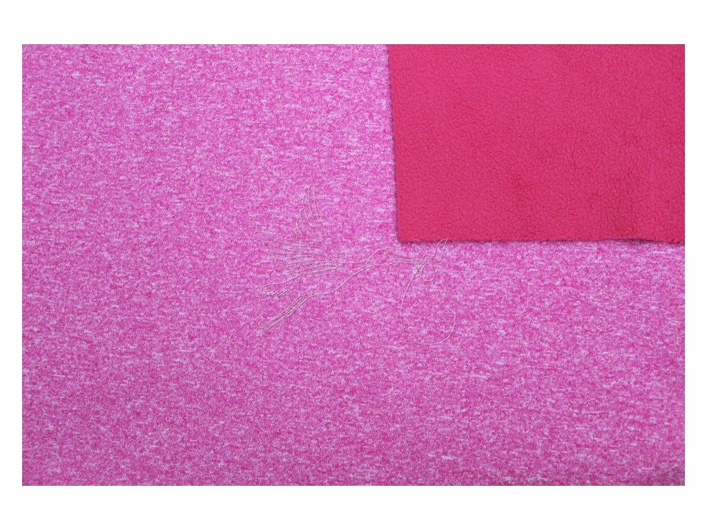 Softshell zimní pružný 18/12 - růžový melír - zbytek 0,41m