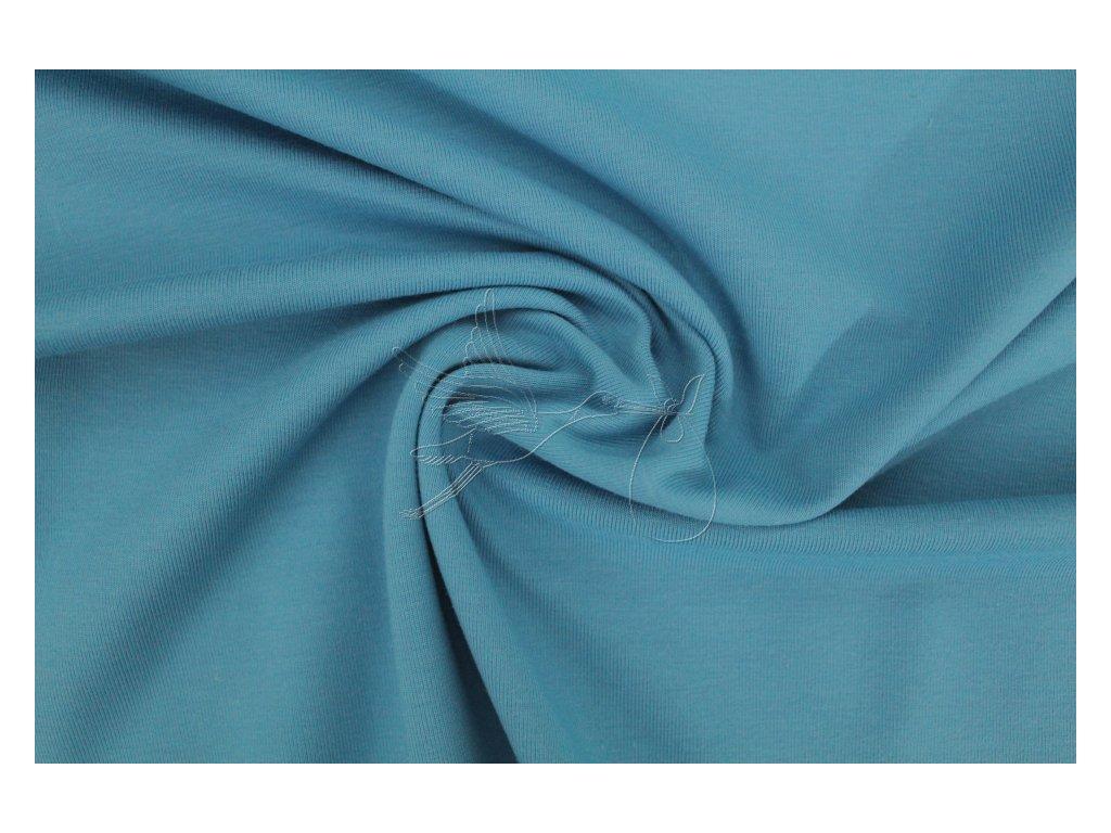 Jednobarevný úplet 240g - Modrá - aqua - zbytek 0,35m