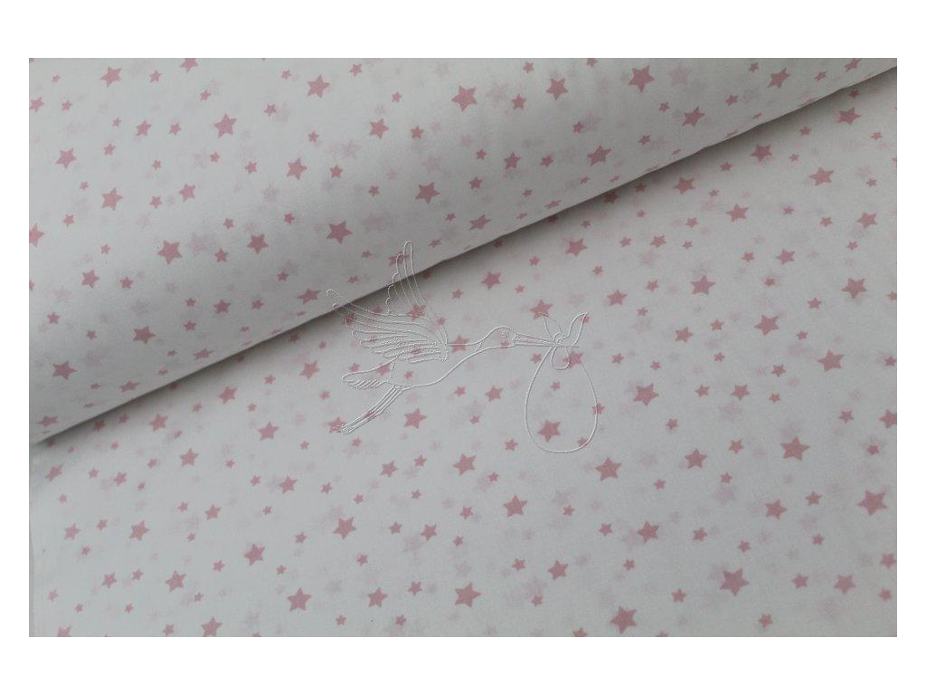 Světle růžové menší hvězdy na bílé - bavlněné plátno, šíře 240cm - zbytek 0,8m