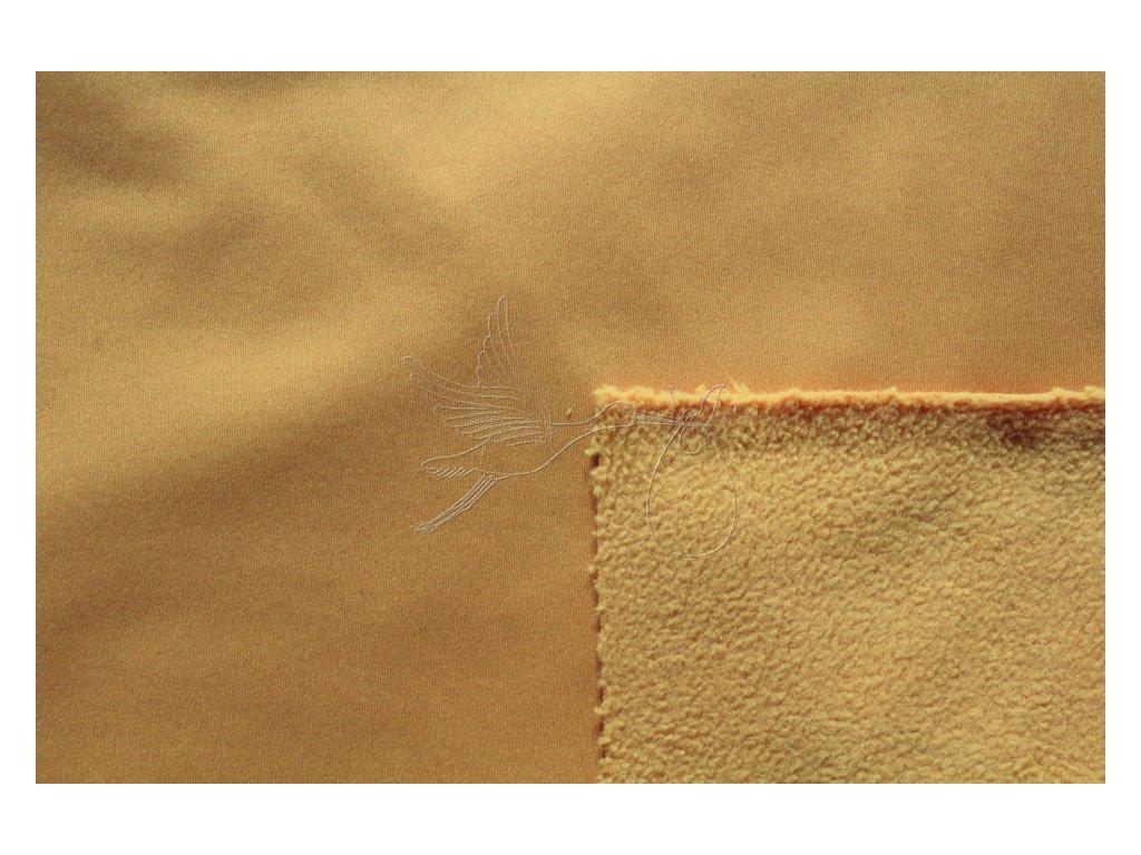 Softshell zimní pružný 18/12 - žlutá hořčice - zbytek 0,25m