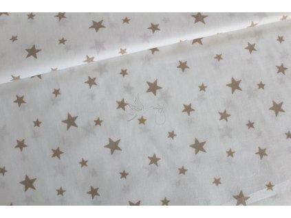 Béžové hvězdy na bílé - bavlněné plátno, šíře 240cm - zbytek 0,97m