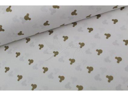Mickey hlavy zlaté - bavlněné plátno, šíře 240cm