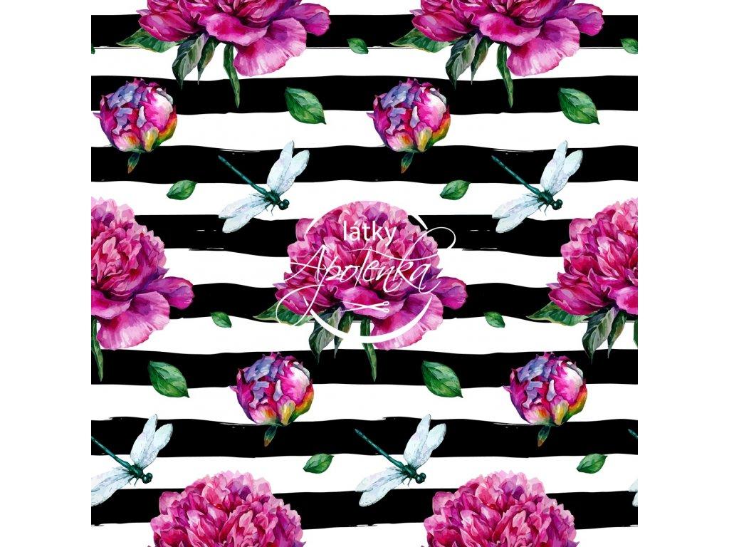 peony pattern stripes