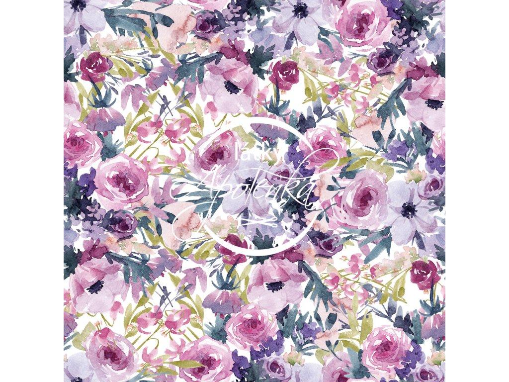 Teplákovina fialové květy akvarel 250g