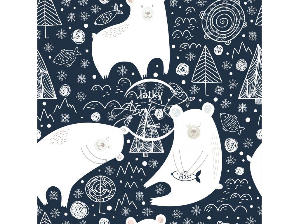 Teplákovina Bílí medvědi na modré 250g